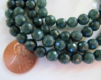 6mm JADE Beads in Dark Pine Green, Faceted, Round, 1 Strand, 64 Beads, Semi Translucent Gemstones Beads, Stone Beads