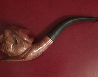 Vintage Antique French Country Pipe, Wooden Carved Fisherman or French Man Face with Hat, Man's Gift Collectible, Man Cave Decor