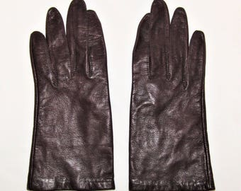 Vintage Ladies' Soft Brown Leather Lined Driving Gloves - Size 6 1/2
