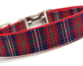 Handmade Dog Collar - Navy Red Plaid - Tartan Dog Collar - Man Dog Collar - Plaid Dog Collar