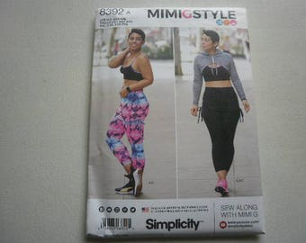 Pattern Ladies Sports Bra Skirt Leggins Hoodie Sizes XXS - XXL Simplicity 8392