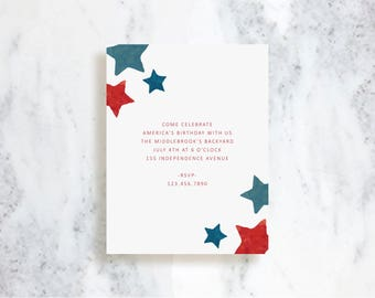Independence Day Invitations // Stars // Birthday Party Invite // Baby Shower // 4th of July