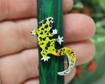 Leopard Gecko hand painted leather key fob Key Chain reptile Gift