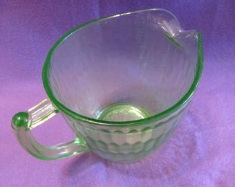 """Water or iced tea pitcher-  Vaseline glass - 5.5"""" tall - Glowing Uranium  - hex optic patern #12 - green"""