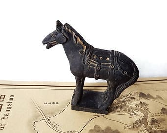 Vintage Xi'an Terra Cotta Horse/ Clay Resin Museum Reproduction/ Horse Figurine/ Xi'an Museum
