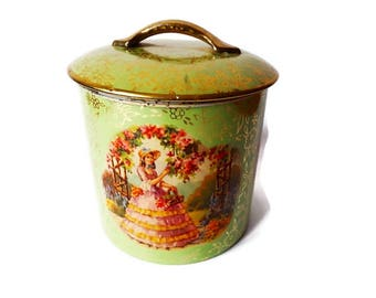 Vintage  English Biscuit Tin/ Green Victorian Style English Toffee Tin