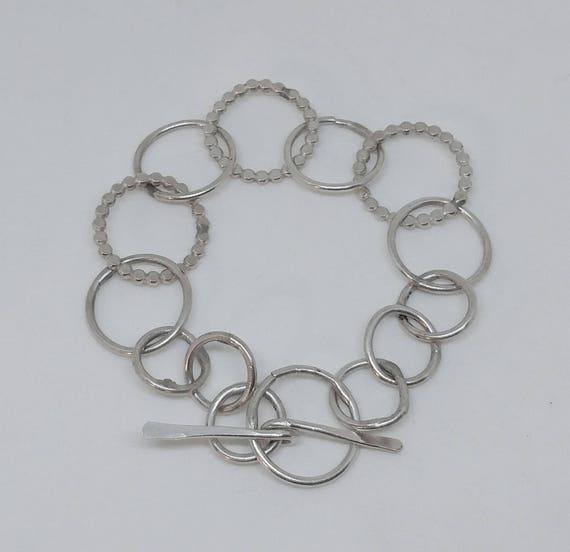 Texture Link Sterling Silver Bracelet