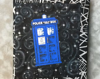 Doctor Who Police Box TARDIS Space  Quilted Refillable Journal Notebook