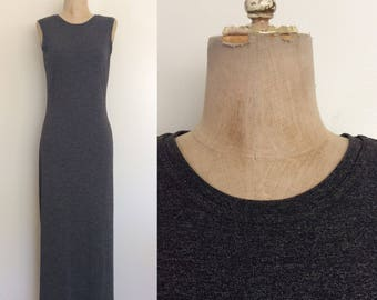 1990's Rayon/Poly Heather Grey Maxi Dress Size Small by Maeberry Vintage