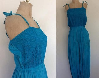 30% OFF 1970's Gauzy Cotton Turquoise Jumpsuit w/ Crochet Bust Size XS Small Medium by Maeberry Vintage