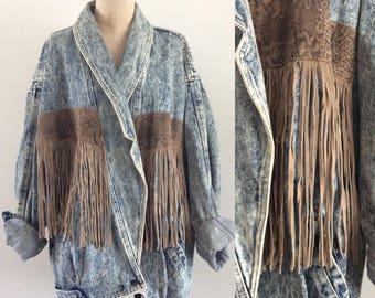 1980's Plus Size Acid Wash Denim Jacket w/ Leather Fringe Plus Size XL XXL by Maeberry Vintage