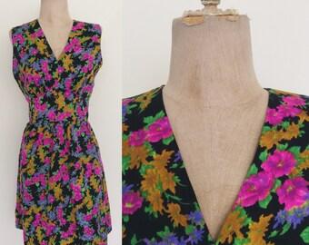 "1970's Black Floral Fit & Flare Dress Sleeveless Mod Vintage Dress Size Medium 28"" Waist by Maeberry Vintage"