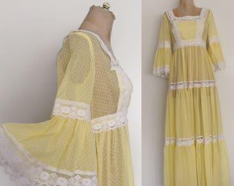 1970's Yellow Polka Dot Maxi Dress w/ Trumpet Sleeves Size Medium by Maeberry Vintage