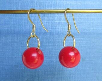Red Bakelite Earrings w/ Solid Brass Hardware - Vintage, Pierced