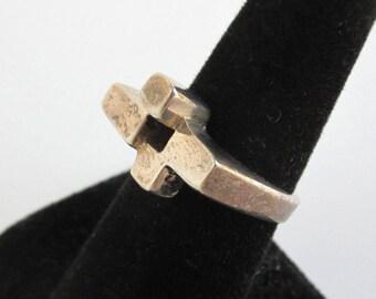 925 Sterling Silver Modernist Ring - Vintage Handmade, Size 6 3/4