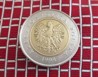 POLAND Coin Tie Tack - Polska Repurposed Two Tone Coin