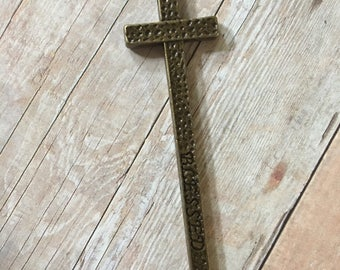 Cross BLESSED Cross Hammered Bronze Antiqued Gold Pewter Pendant