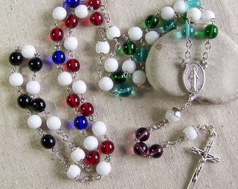 Pro Life Catholic rosary, Multi-Color Pro-Life rosary chaplet with Czech glass beads
