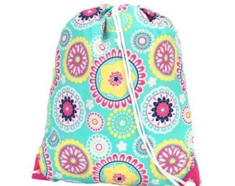 Pattern Drawstring Bag - Small Backpack - Monogram Bag - Personalized Kids Bag - Sport Bag - Dance Bag - Personalized Backpack