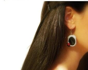 CIJ SALE Crochet Dangle Earrings, Onyx, Black, Silver Cotton Yarn, Red, Glass Beads, Drop Hooks