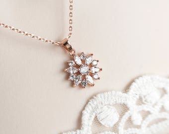 Rose Gold Cubic Zirconia Flower Bridal Necklace, Cubic Zirconia Flower Necklace, Bridal Flower Necklace, Rose Gold Floral Bridal Jewelry