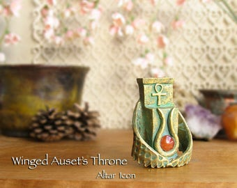Winged Throne of Auset Altar Icon - Natural Carnelian Disc - Handcrafted Altar Statue w/ Ankh, Horns & Solar Disc - Aged Golden Brass Finish
