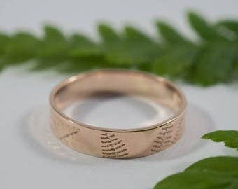 His and His Rose Gold Fern Wedding Band: A pair of 5mm wide 9ct rose gold wedding band