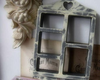 Vintage Curio Shelf French Inspired Upcycled Handpainted Decoupaged Nordic French Inspired
