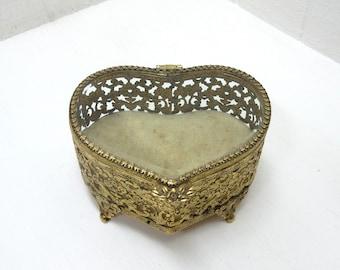 Vintage Heart Shaped Trinket Box Faux Beveled Glass Ormolu Filigree Jewelry Casket Dresser Box