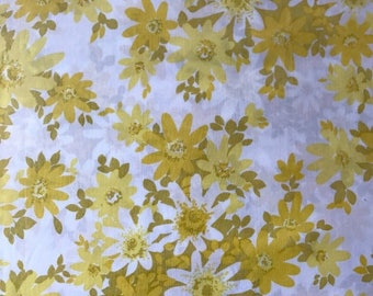 SALE Vintage full double flat flower power sheet remix bed sheets bedding retro linens crafts fabric made in USA
