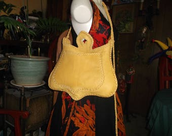Hand Laced Yellow Deerskin fully lined in dark Brown Leather shoulder bag crossbody bag purse