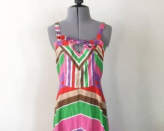 SALE SALE Vintage 90s Sun Dress, Striped Dress, Bow Dress, Tie Dress, Party Dress, Summer Dress, Sleeveless Dress,  Size 5/6