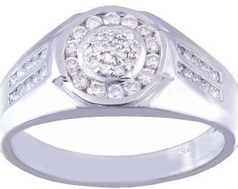 14k white gold round cut diamond mens band ring Wedding, Bridal, Anniversary, Prong, Natural Diamonds 0.50ctw