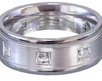 10k Whie Gold Princess Cut Diamond Mens Band Ring Eternity Filigree Wedding, Bridal, Anniversary, Prong, Natural Diamonds 0.40ct 7mm