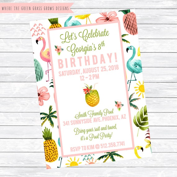 Pink Flamingo Party Invitation Printable