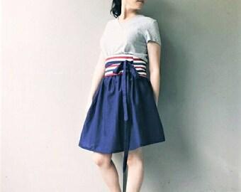 Cotton Obi Belt, Patriotic Colors