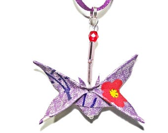 Butterfly necklace lilac ORIGAMI