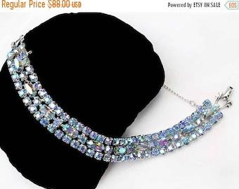20% OFF SALE - SHERMAN Light Sapphire Ab Navette and Round Rhinestone Bracelet