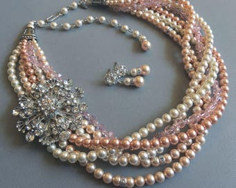 Twisted Pearl Bridal Necklace with Brooch Set Peach Mix Torsade 6 strands Swarovski Pearls and Crystal choice of Brooch
