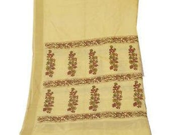 Vintage Shawl/Stole. Regency Style. Cream Silk Blend. Hand painted.