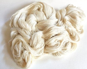 Leah. Silk / Cotton Lace Yarn. White Horses