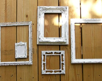 Set of 5 Shabby Chic Chippy White  Picture Frames for Gallery Wall, Wedding Decor, Nursery Decor Frames