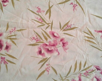 Vintage Rayon Fabric, Pink Flowers on Pink Background 1 Yard X0940