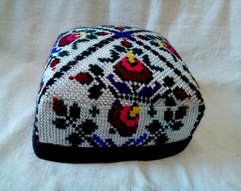 Uzbek traditional cross stitch embroidered cap, skullcap. Uzbek hat, tyubeteyka