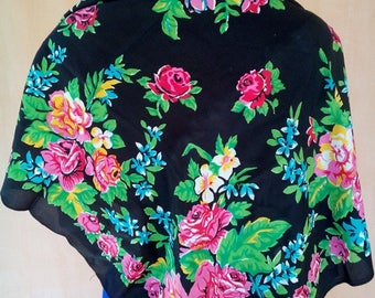 Vintage Russian floral crepe silk boho scarf. Babushka style. SC004