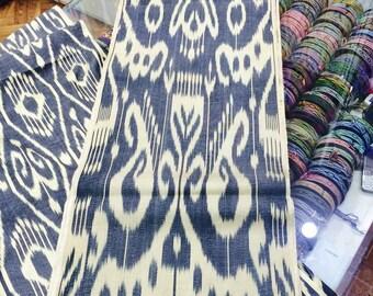 Uzbek traditional handwoven silk ikat fabric by meter. Tribal, ethnic, boho fabric