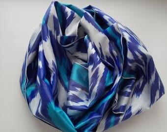 Uzbek handwoven blue silk ikat scarf Shoyi