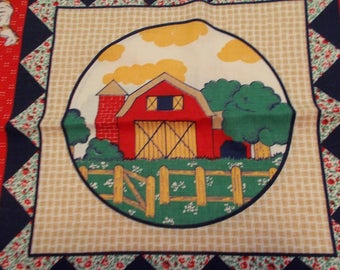 Vintage Pillow Panels with Barn Scene (2)