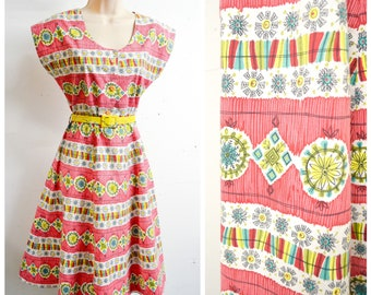 1940s Red stripe yellow white printed day dress / 40s 50s Aztec Mexican style abstract printed sundress - S