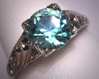Antique Blue Zircon Wedding Ring Vintage Art Deco 18K White Gold Floral c.1920